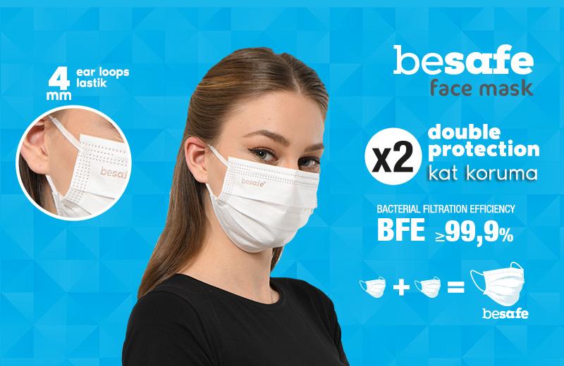 Besafe Maske; Çift Maske Yerine Tek Maske ile Mutasyonlu Virüse Karşı Etkili Koruma Sağlıyor